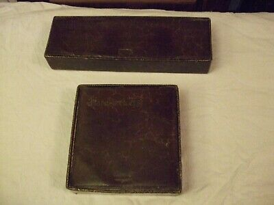 1930's brown leather Gloves box + 4 pairs of vintage gloves & matching hanky box