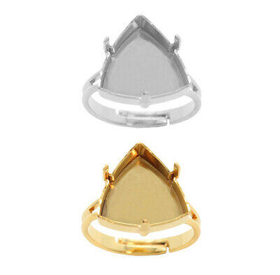 Brass Adjustable Ring Bases for 4799 Kaleidoscope Triangle 14mm Fancy Crystals
