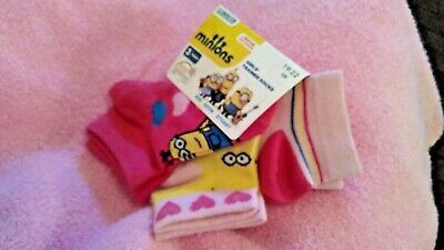 3 x New girls trainer socks minions, despicable me  euro size 19 - 22 pink