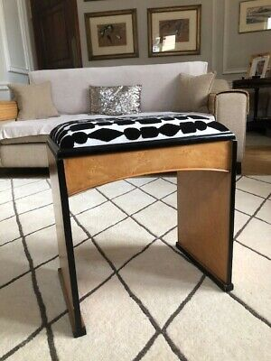 Art Deco Piano Stool. Birdseye maple with ebonised trim.