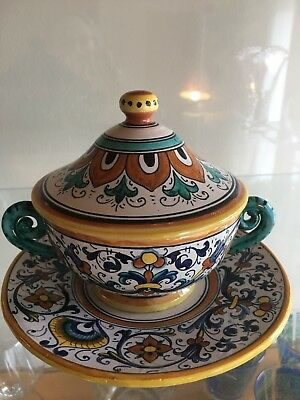 Set Of 6 Deruta Majolica Italian Pottery, Covered Soup Bowls w/ Saucers