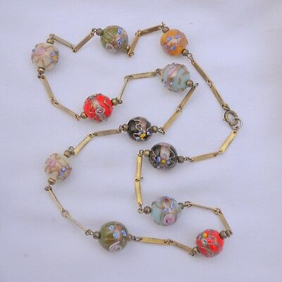 Antique wedding cake bead necklace Venetian Murano glass vintage large floral