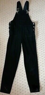 Girls Next Crushed Velvet Black Dungarees Jump Suit New Velour Xmas Party Age 8