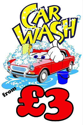 Car Wash From £3 Sign  - 5mm Correx 800 x 600mm - 5 Pack