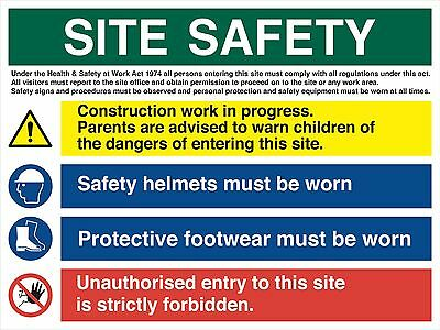 X-Large Site Safety Notice Sign 1000mm X 740mm - 5mm Foamex - Heavy Duty
