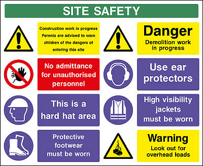5 x Multi-Pack Large Site Safety Notice Sign 800mm x 600mm