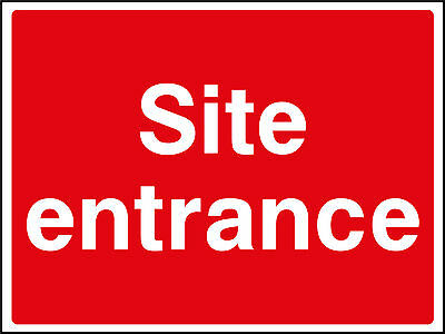 Large Site Entrance - Site Safety Sign 800mm x 600mm - Waterproof Plastic