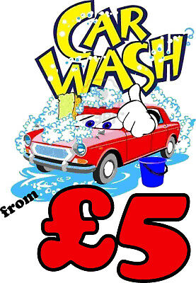 Car Wash From £5 Sign  - 5mm Correx 800 x 600mm - 5 Pack