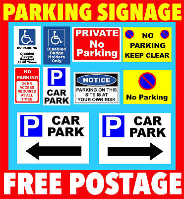 No Parking Signs, Plastic Signage or Stickers, - Private, Driveway, Disabled