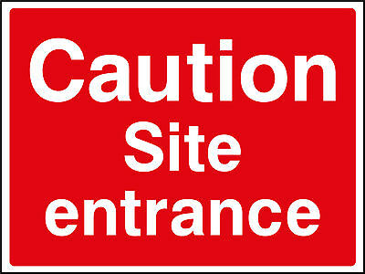 Caution Site Entrance - Outdoor Site Safety Plastic Sign 800mm x 600mm