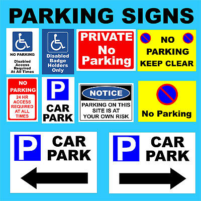 No Parking Plastic Sign, Sticker -Disabled, Private, Driveway, Disabled, Outdoor