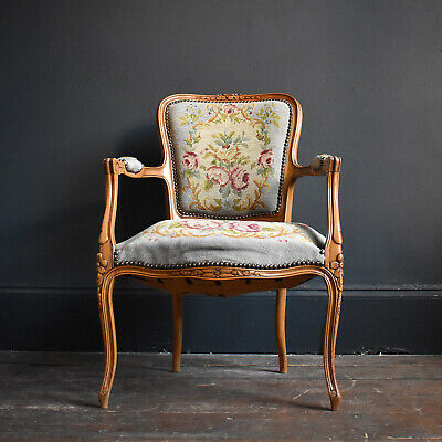 French Pale Blue Embroidered Fauteuil Armchair - Antique Louis XV Style Chair