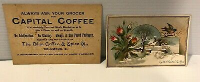 Victorian Advertising Trade Card Lot 2 Coffee Gold Medal Capital Columbus Oh