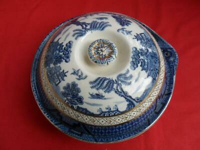 Booths Real Old Willow, Antique Heated Muffin Dish (RARE)