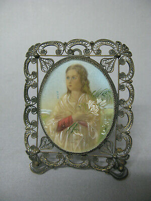Antique miniature portrait painting of a young lady French filigree frame