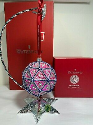"Waterford Crystal - 2018 Times Square 4"" Ornament & Silver Star Stand - New"