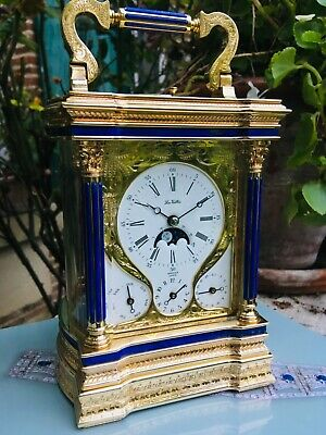 RARE Carriage clock la Vallee Complicated Music Moonphase engraved repeater