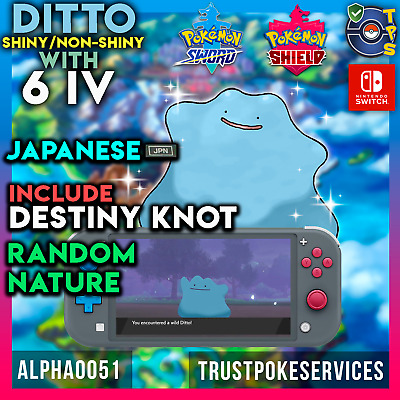 Pokemon Sword and Shield Shiny japanese Ditto 6 IV Breeding with Destiny Knot