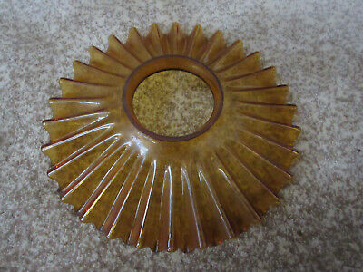 Antique Amber Glass Petticoat Ruffle Fluted Glass Shade Oil Lamp Chimney 9 3/4""