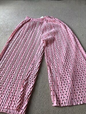 Girls Zara Pleated 3/4 Length Trousers Pink with Black Spots Ex Cond 13/14 Years