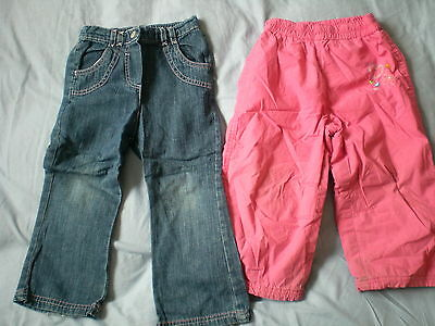 Mothercare Girl Warm Winter Trousers Size 18-24 months & BHS Jeans 24-36 Months
