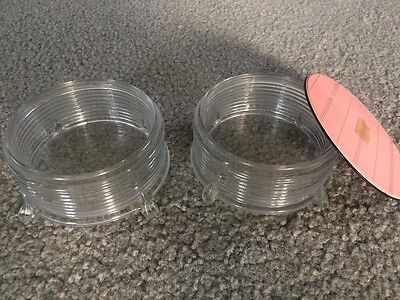 Two ~ Antique Vintage Cut Glass / Crystal Ribbed Dresser Vanity Jars Bowls !!!!!
