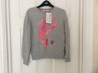 Marks And Spencer M&S Girl's Grey Top Jumper Pink Sequence Age 8-9 Bnwt Rrp £18