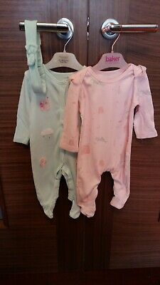 Baby girls 2 pack of unicorn sleep suits (0-3 months)