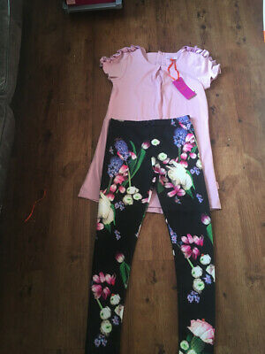 Ted Baker Girls Floral/Bee Leggings With Lilac Ruffle Top/tunic Set 12-13 BNWT