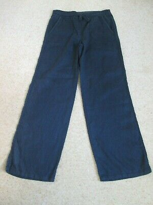 Black Linen Wide Leg Trousers From Marks and Spencer Size 10 Medium