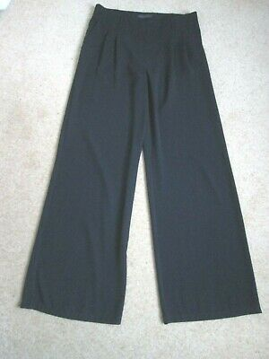 Black Wide Leg Crepe Fabric Trousers From Marks and Spencer Size 14 Long