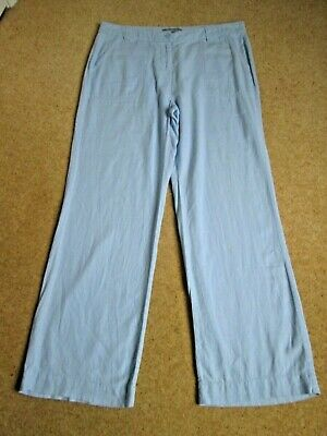 Pale Blue Linen Blend Wide Leg Trousers From Marks and Spencer Size 14 Medium