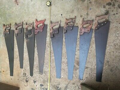 "8x carpentry old uncleaned handsaws hand Saws 24"", 26"" . England, USA"