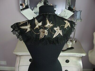 antique collar hand embroidered detail ribbon fastening beaded lace edge
