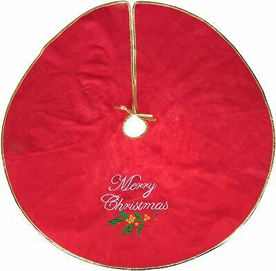Clever Creations Merry Christmas Embroidered Tree Skirt Red And Gold | Festive H