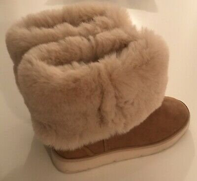 Zara Girls Faux Fur Ankle Boots 31 Uk 12.5 Very Soft Mint Condition