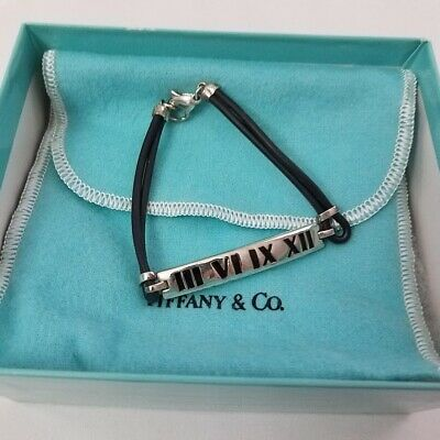 Tiffany & Co. Sterling Silver Atlas Collection Bar Rubber Bracelet 7 1/2""