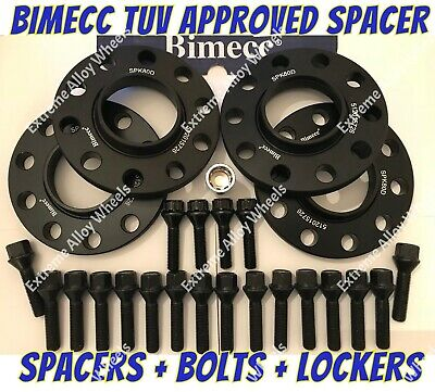 Alloy Wheel Spacers 12mm + Bolts + Locks Bentley Lamborghini Black Bimecc