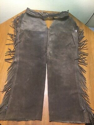 Vintage Western Brown Suede Leather Fringed Horse Riding Chaps 32-34 Waist