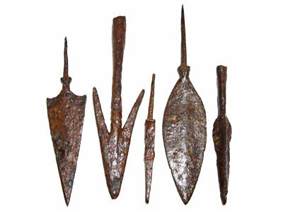 LOT OF 5pcs. ANCIENT IRON ARROW HEADS, WELL PRESERVED, BROAD VARIETY!!!