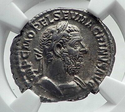 MACRINUS Authentic Ancient 217AD Rome Silver Roman Coin FELICITAS NGC i81373