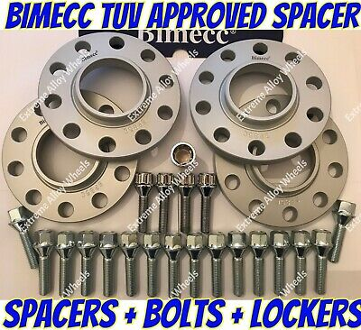 Alloy Wheel Spacers 25mm + Bolts + Locks Bentley Lamborghini Silver Bimecc