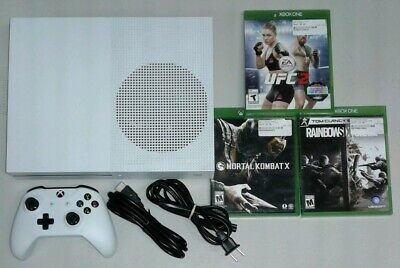 Xbox One S 1681 White 1TB w/ Controller, HDMI, power, 3 Games SHIPS FAST!!!!!