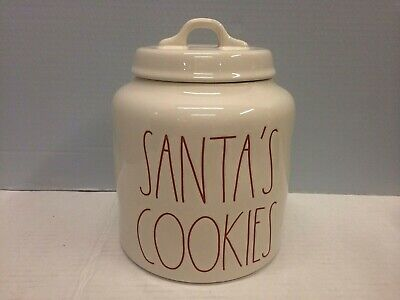 New Rae Dunn SANTA'S COOKIES Ivory Christmas Canister Red LL Large Letter