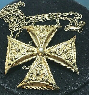 Large Unsigned Florenza Maltese Cross Pin/Pendant on Antique Chainlink Necklace