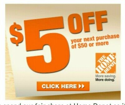 Two~2x~ Home Depot Coupon $5 OFF $50 In-Store-Only ~~ lNSTANT~FAST~SENT