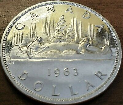 1963 CANADA $1 .800/80% SILVER DOLLAR Brilliant Uncirculated Proof-Like Coin