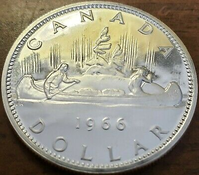 1966 CANADA $1 .800/80% SILVER DOLLAR Brilliant Uncirculated Proof-Like Coin