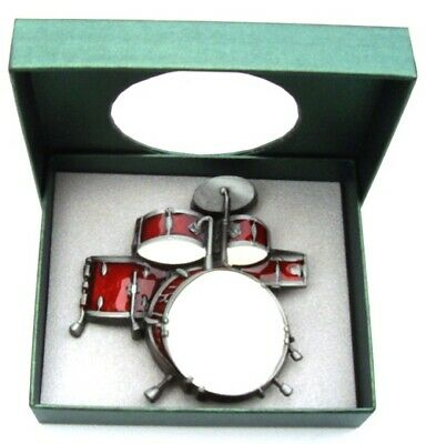 Red Music Drum Kit - red brushed silver removable BELT BUCKLE - BP139 & GIFT BOX