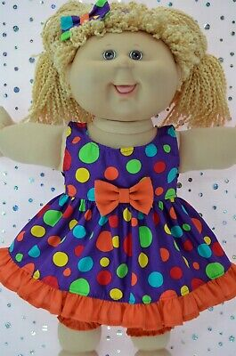"""PlaynWear Dolls Clothes For 16"""" Cabbage Patch MULTI SPOT DRESS~BLOOMERS~HEADBAND"""